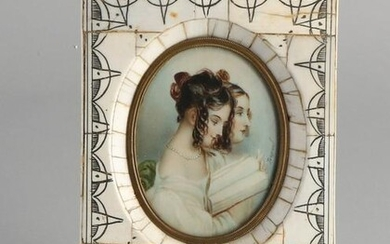Antique French miniature painting. Two young ladies.