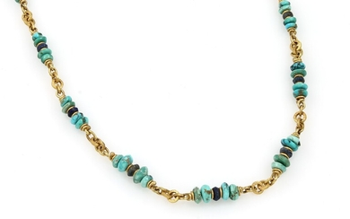 Antique necklace with turquoises and lapis lazuli...