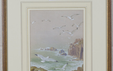 Attributed to Noel H. Hopking - Seagulls flying above a Rocky Coastline, watercolour with gouache, a