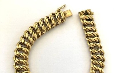 Bracelet in yellow gold 750 thousandths American stitch 18.3 g, length 18 cm.