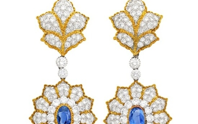 Buccellati Pair of Two-Color Gold, Sapphire and Diamond Pendant-Earclips