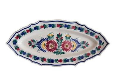 C. 1940 Large French Faience Quimper Floral Fish