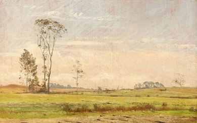 C. F. Aagaard: Landscape with tall trees in a field. Signed C. F. A. Oil on canvas laid on canvas. 30.5×42 cm.