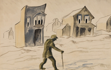 CHARLES BURCHFIELD Man Walking with a Cane outside Gazing Ho