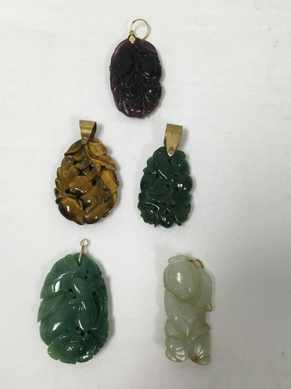 CHINESE CARVED HARDSTONE PENDANTS: JADE ETC.