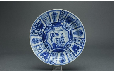 CHINESE QING BLUE AND WHITE PORCELAIN PLATE