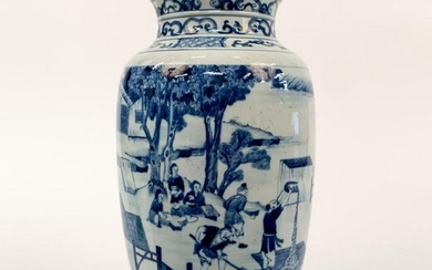 CHINESE QING STYLE BLUE AND WHITE FARM SCENE VASE