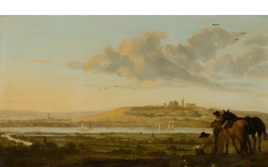 CIRCLE OF AELBERT CUYP (DUTCH 1620-1691) EXTENSIVE RIVER LANDSCAPE WITH RIDERS OVERLOOKING A TOWN