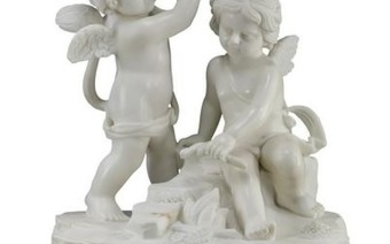 Carved marble sculpture of two winged putti