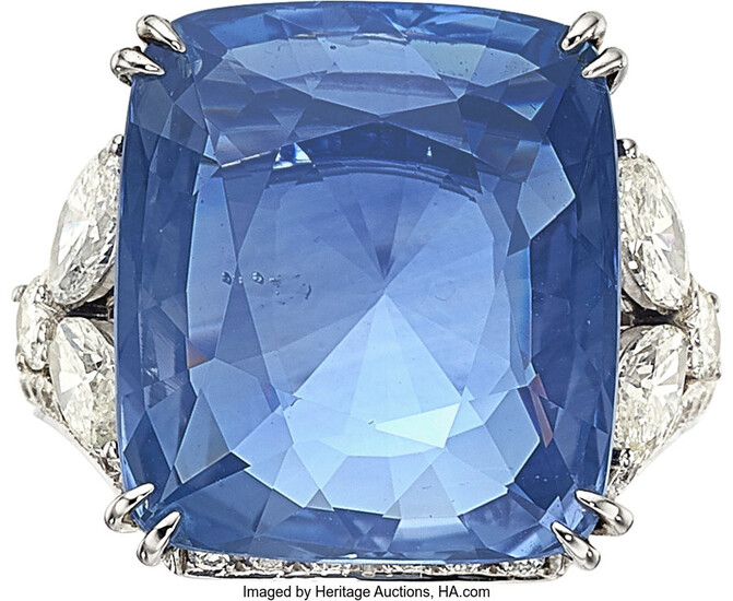 Ceylon Sapphire, Diamond, White Gold Ring The ring features...