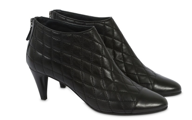 Chanel Black Leather Quilted Ankle Boot - EU 41