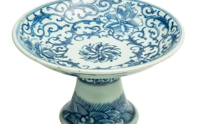 Chinese Blue and White Porcelain Pedestal Dish.