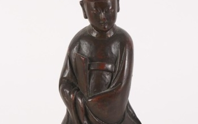 Chinese Carved Lacquered Wood Figure of an Official FR3SHLM