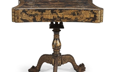 Chinese Export lacquered games table early 19th century H:...