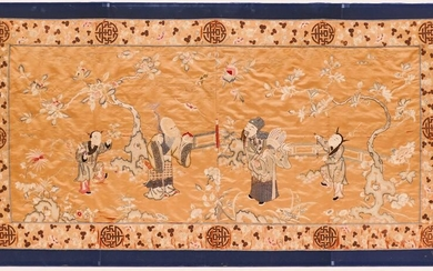 Chinese Shoulao Large Silk Embroidered Panel 39''x76''.