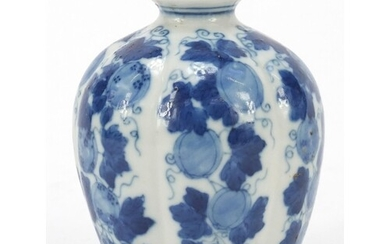 Chinese blue and white porcelain vase hand painted with frui...