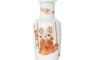 Chinese coral porcelain vase