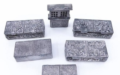 Collection Of Six (6) Antique Silver Pill Boxes