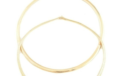 Collection of Two Yellow Gold Necklaces.