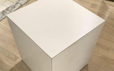 Contemporary Modern White Cube End Table