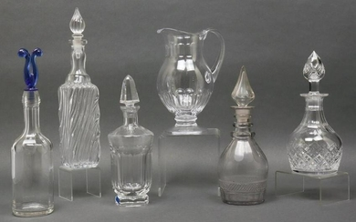 Crystal & Glass Decanters & Pitcher, 6
