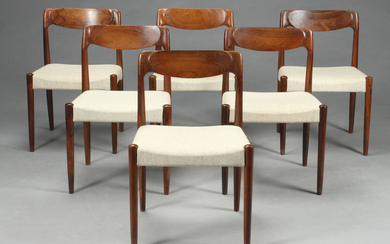 Danish furniture producer. Dining chairs, rosewood, the 1960s (6)