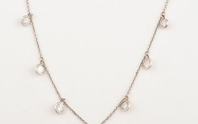 Diamond, 14k White Gold Necklace.
