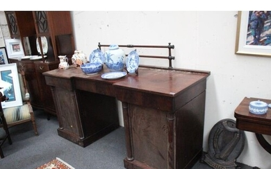 Early Victorian Mahogany Pedestal Sideboard with Rail Galler...