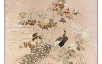 Embroidered silk panel 18th-19th Century