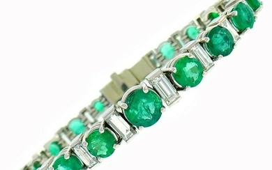 Emerald Diamond Platinum Tennis Line BRACELET French