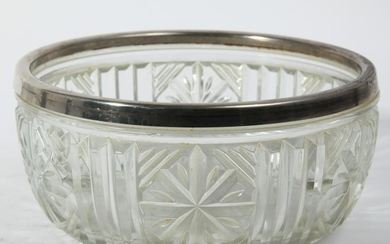 English Cut Glass Bowl With Silver-Plate Rim