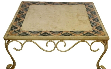 FINE IRON BASE MODERN INLAID MARBLE CENTER TABLE