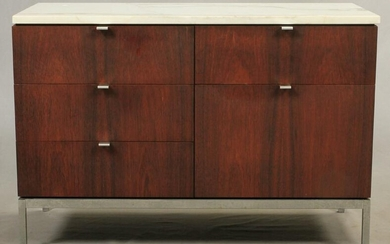 FLORENCE KNOLL ROSEWOOD & MARBLE TOP CABINET