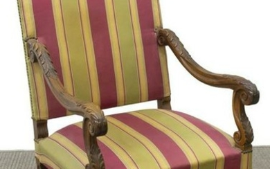 FRENCH LOUIS XIV STYLE HIGHBACK FAUTEUIL ARMCHAIR