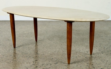 FRENCH PARCHMENT COVERED COFFEE TABLE C.1950