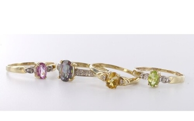 Four 9ct yellow gold gemstone and diamond set rings, weight ...
