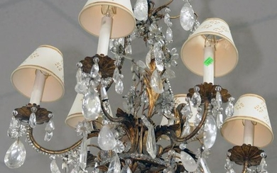 French Gilt Bronze and Rock Crystal Chandelier, six