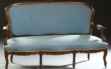 French Louis XV Style carved Walnut Settee, late 19th