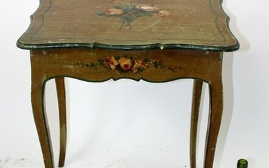 French floral painted side table
