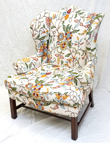 GEORGE III 18th c CREWEL WING CHAIR
