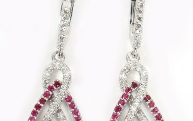 GOLD, NATURAL RUBY AND DIAMOND DANGLE EARRINGS
