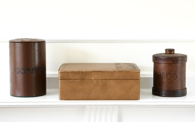 GROUPING OF LEATHER HUMIDORS