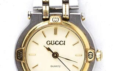 GUCCI WATCH 90s 9000M ivory dial stainless steel/gold pleated strap...