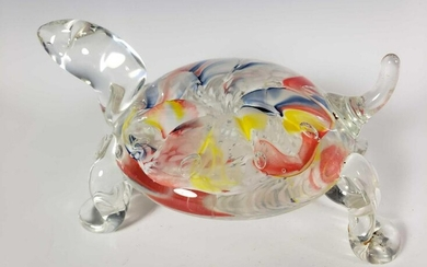 Gibson Art Glass Paperweight Turtle