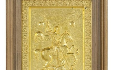"""Gilt-Metal Plaque of """"St. George and the Dragon"""""""