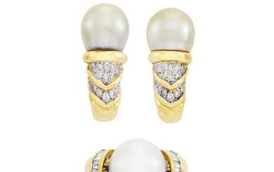 Gold, South Sea Cultured Pearl and Diamond Ring and Pair of Earrings