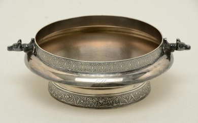 Gorham Victorian sterling silver low bowl with figural