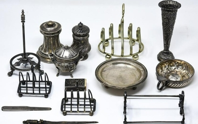 Group Antique Sterling & Silver Plate Accessories