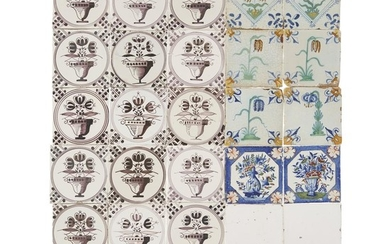 Group of twenty-two Dutch Delft manganese and polychrome tiles...