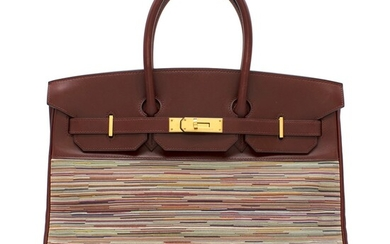 HERMÈS | ROUGE H BIRKIN 35 IN BOX CALF AND VIBRATO LEATHER WITH GOLD HARDWARE, 2002